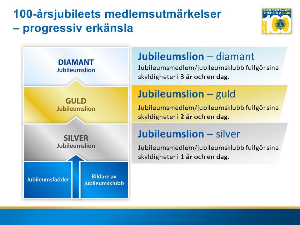 10 Jubileumslion – diamant Jubileumsmedlem/jubileumsklubb fullgör sina skyldigheter i 3 år och en dag.