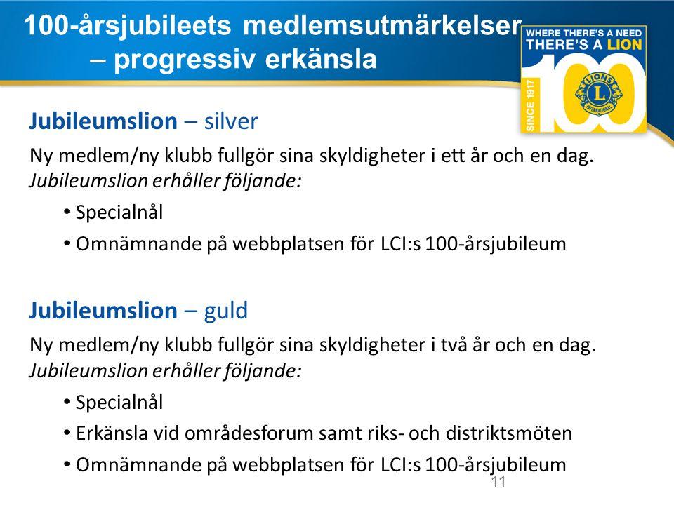 11 100-årsjubileets medlemsutmärkelser – progressiv erkänsla 11 Jubileumslion – silver Ny medlem/ny klubb fullgör sina skyldigheter i ett år och en dag.