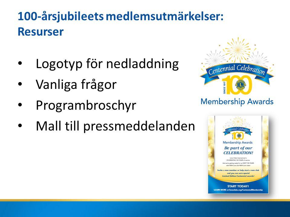100-årsjubileets medlemsutmärkelser: Resurser Logotyp för nedladdning Vanliga frågor Programbroschyr Mall till pressmeddelanden