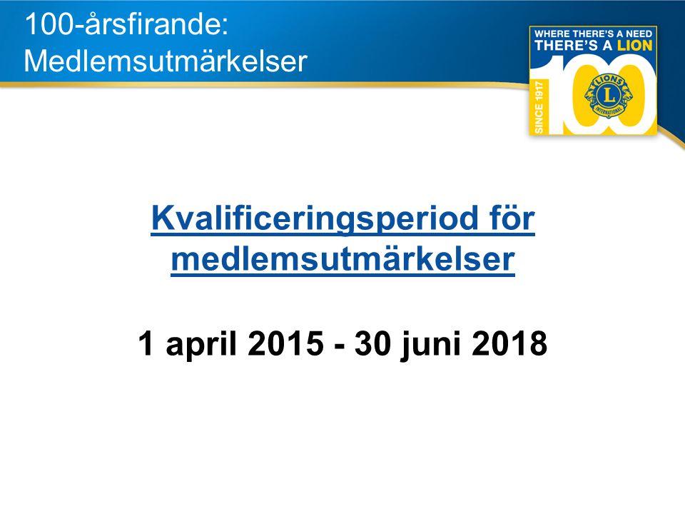 4 100-årsfirande: Medlemsutmärkelser Kvalificeringsperiod för medlemsutmärkelser 1 april 2015 - 30 juni 2018