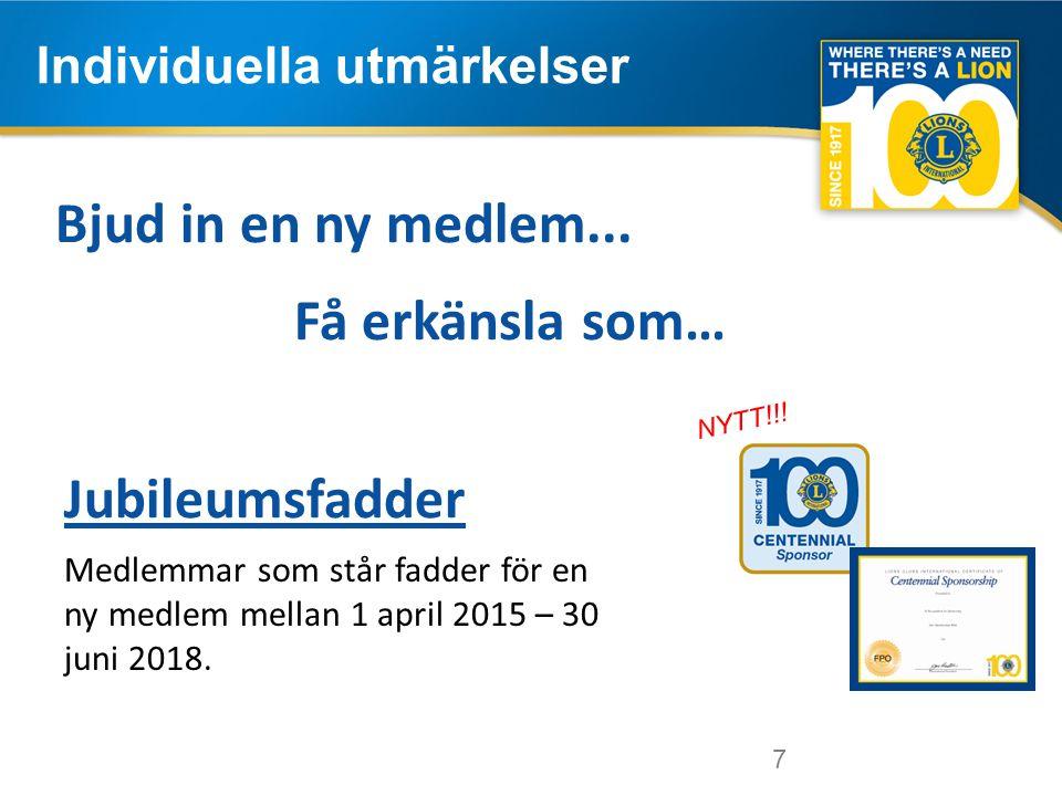 7 Individuella utmärkelser 7 Medlemmar som står fadder för en ny medlem mellan 1 april 2015 – 30 juni 2018.