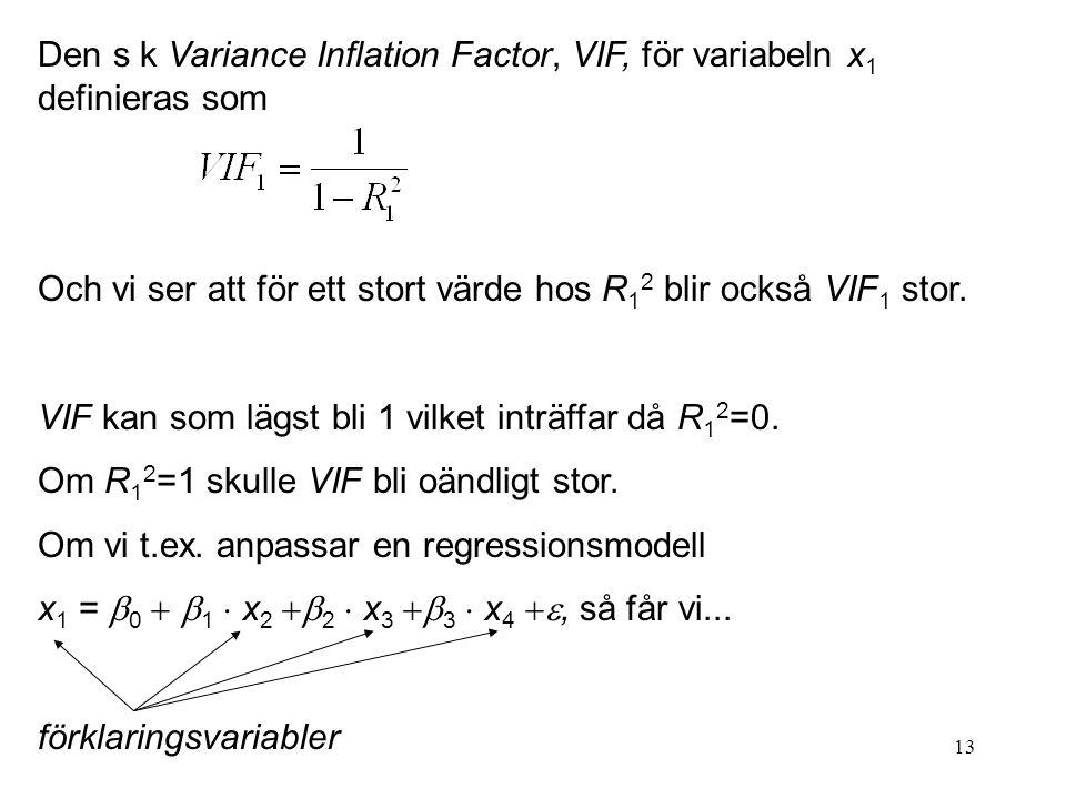 13 Den s k Variance Inflation Factor, VIF, för variabeln x 1 definieras som Och vi ser att för ett stort värde hos R 1 2 blir också VIF 1 stor. VIF ka