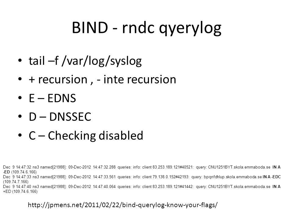 BIND - rndc qyerylog http://www.freesoft.org/CIE/RFC/2065/40.htm