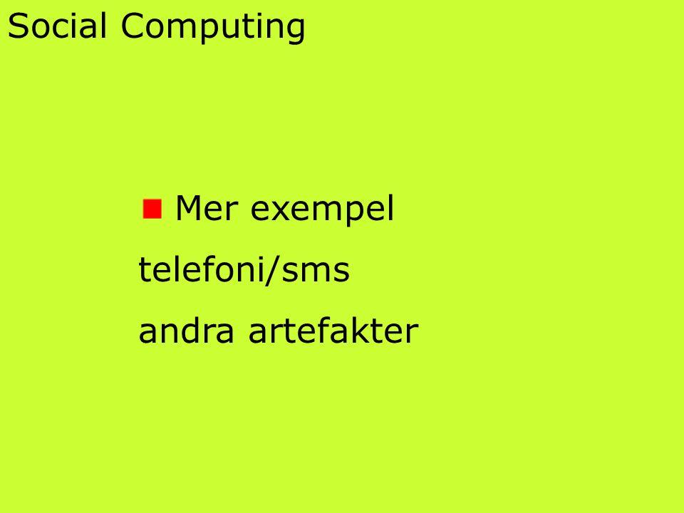 Social Computing Mer exempel telefoni/sms andra artefakter