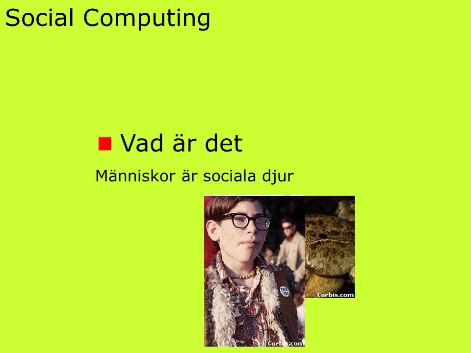 Social Computing Vad är det Människor är sociala djur