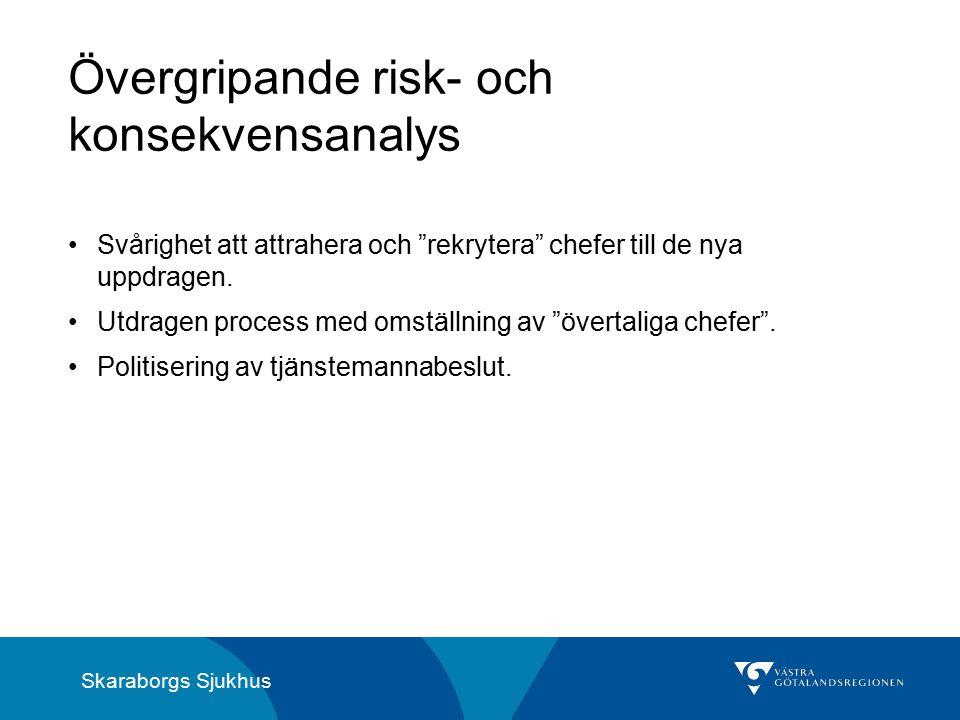 Skaraborgs Sjukhus Övergripande risk- och konsekvensanalys Svårighet att attrahera och rekrytera chefer till de nya uppdragen.