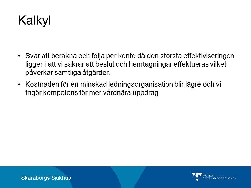 Skaraborgs Sjukhus Kalkyl Svår att beräkna och följa per konto då den största effektiviseringen ligger i att vi säkrar att beslut och hemtagningar effektueras vilket påverkar samtliga åtgärder.