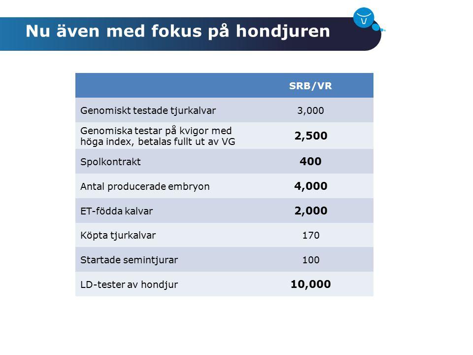 Nu även med fokus på hondjuren SRB/VR Genomiskt testade tjurkalvar3,000 Genomiska testar på kvigor med höga index, betalas fullt ut av VG 2,500 Spolko