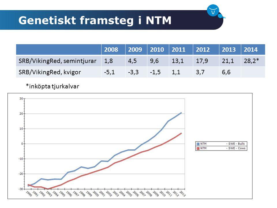 Genetiskt framsteg i NTM 2008200920102011201220132014 SRB/VikingRed, semintjurar1,84,59,613,117,921,128,2* SRB/VikingRed, kvigor-5,1-3,3-1,51,13,76,6