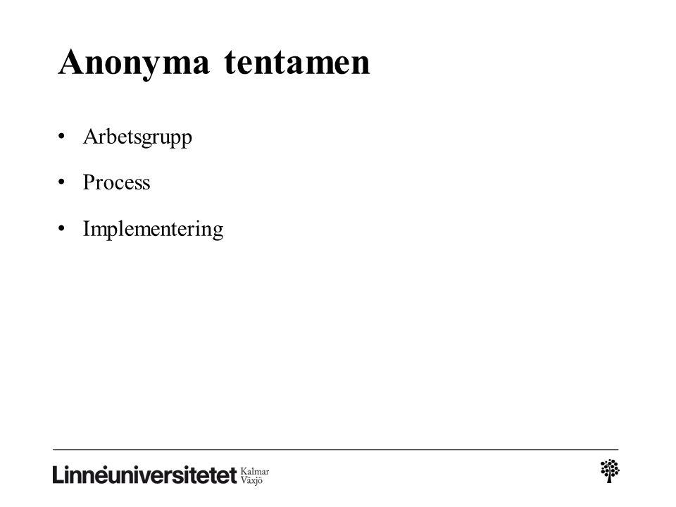 Anonyma tentamen Arbetsgrupp Process Implementering