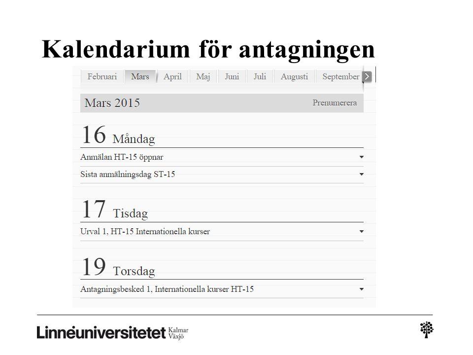 Kalendarium för antagningen