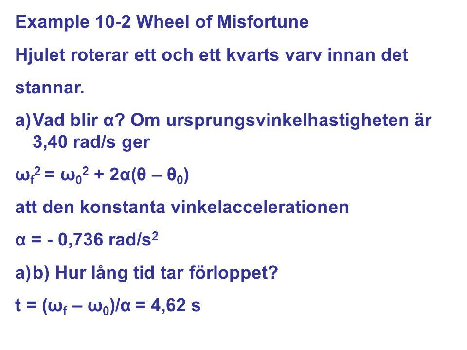 Hjulet roterar ett och ett kvarts varv innan det stannar. a)Vad blir α? Om ursprungsvinkelhastigheten är 3,40 rad/s ger ω f 2 = ω 0 2 + 2α(θ – θ 0 ) a
