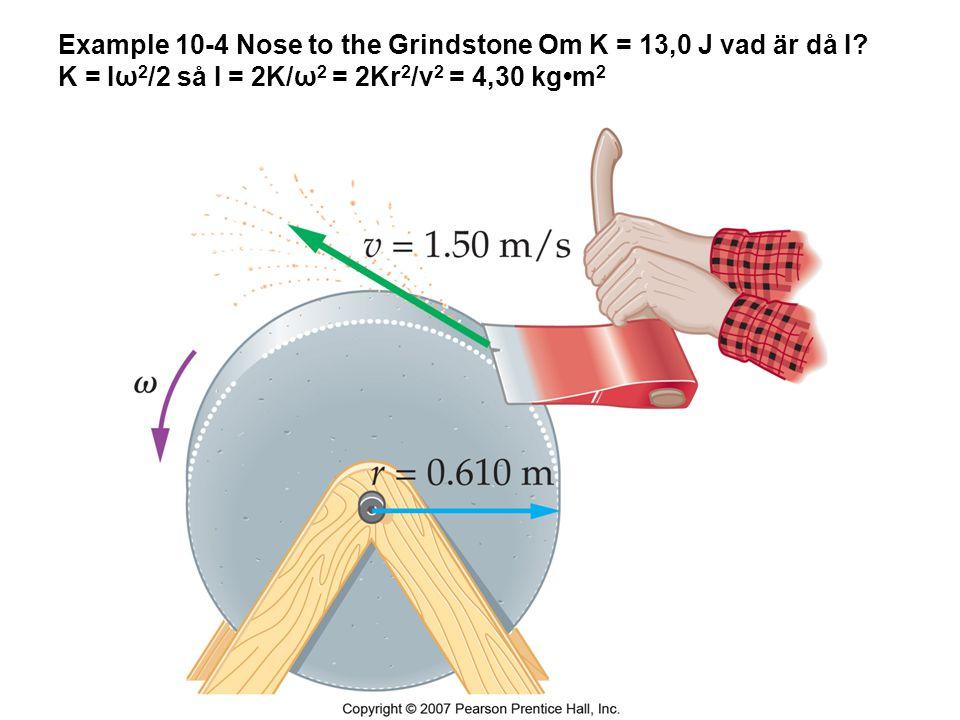 Example 10-4 Nose to the Grindstone Om K = 13,0 J vad är då I? K = Iω 2 /2 så I = 2K/ω 2 = 2Kr 2 /v 2 = 4,30 kgm 2