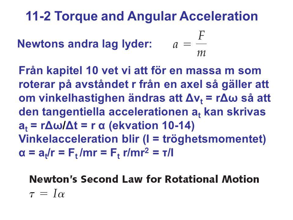 11-2 Torque and Angular Acceleration Newtons andra lag lyder: Från kapitel 10 vet vi att för en massa m som roterar på avståndet r från en axel så gäl