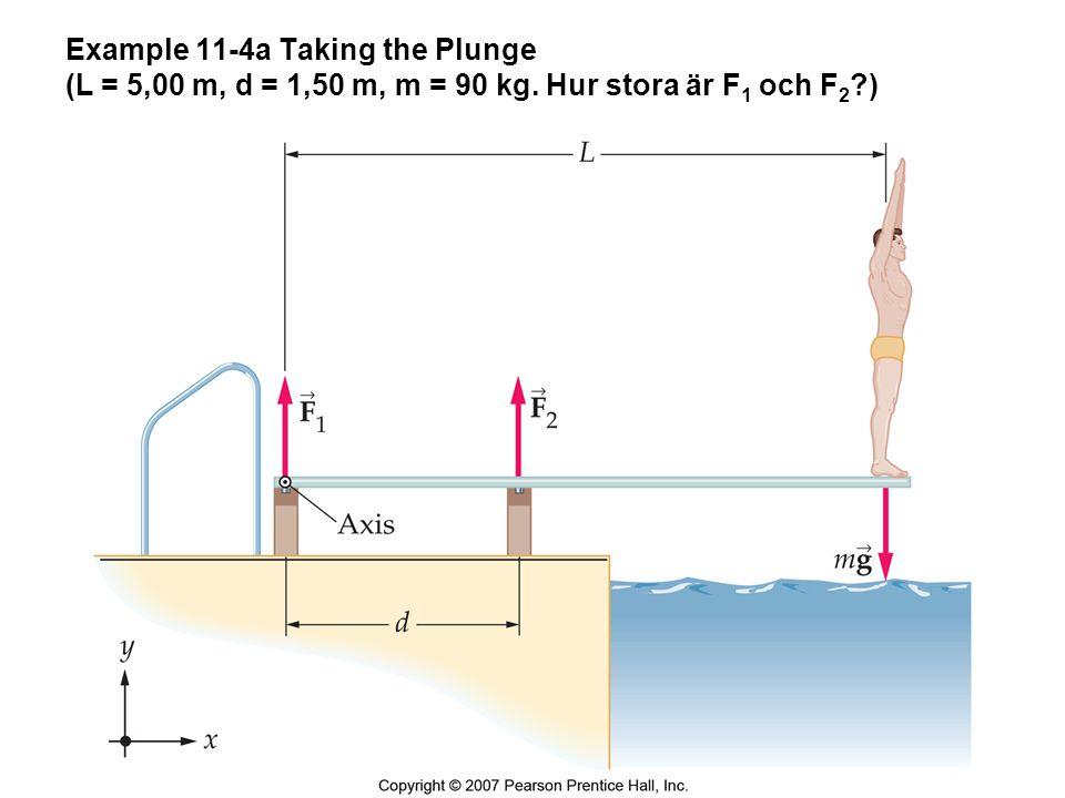 Example 11-4b Taking the Plunge (dF 1 = (L- d)mg, dF 2 = mgL) F 1 = - 2060 kN, F 2 = 2943 N