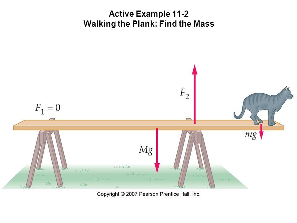 Active Example 11-2 Walking the Plank Find the Mass M = 7,00 kg, plankan är 4,00 m och står på två sågbockar, 0,440 m överhäng till vänster och 1,50 m till höger.