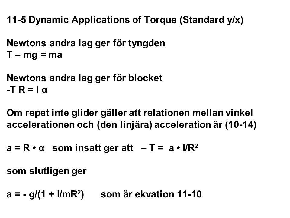 11-5 Dynamic Applications of Torque (Standard y/x) Newtons andra lag ger för tyngden T – mg = ma Newtons andra lag ger för blocket -T R = I α Om repet