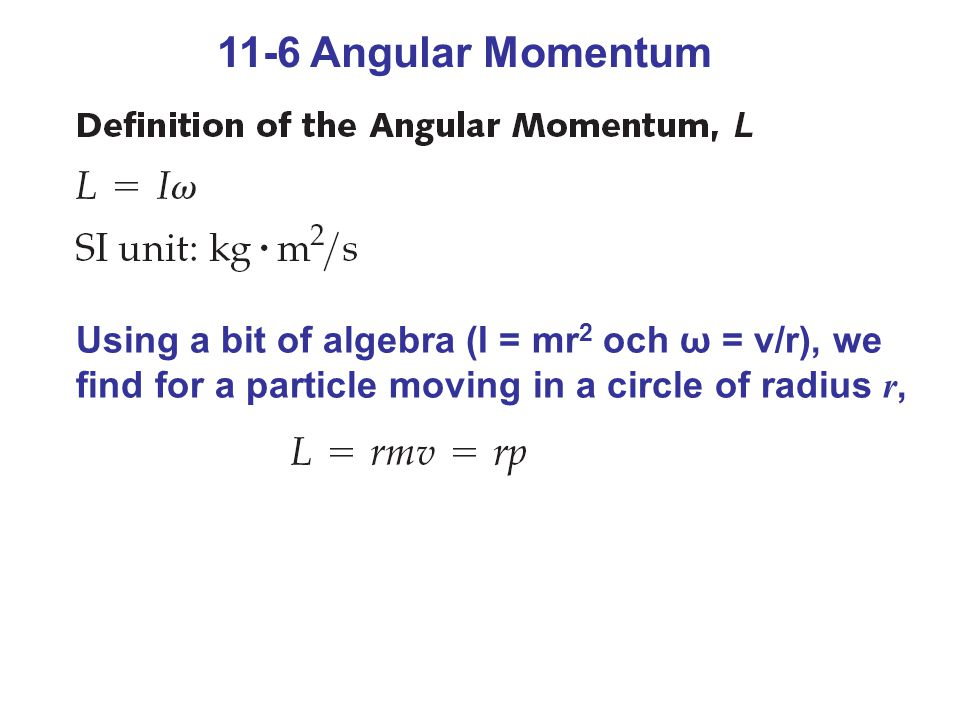 Figure 11-11 The angular momentum of circular motion