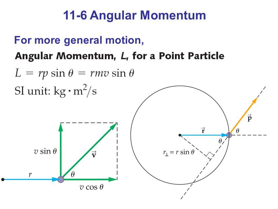 Exercise 11-3 Beräkna rörelsemängdsmomentet för a) en frisbee som väger 0,13 kg och som kan anses vara en homogen skiva med r = 7,5 cm och ω = 1,15 rad/s L = I ω = mr 2 /2 ω = 4,2 10 -4 kgm 2 /s (Js) b) en person (m = 95,0 kg) som springer med v = 5,1 m/s i en cirkel med r = 25 m L = r p = 25 m 95,0 kg 5,1 m/s = 12 kJs