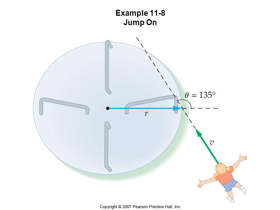 Example 11-8 Ett barn (m = 21,2 kg) springer med hastigheten 4,10 m/s mot en karusell enligt figuren.