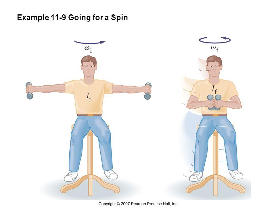 Example 11-9 Beräkna vinkelhastigheten, som ursprungligen var 3,74 rad/s, för en student på en pianostol (med tröghetsmomentet 5,33 kgm 2 ) som sedan ändrar sitt tröghetsmomentet till 1,60 kgm 2 .