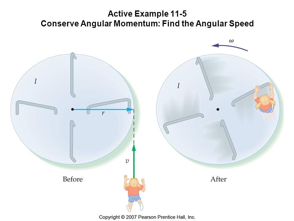 Active Example 11-5 Conserve Angular Momentum: Find the Angular Speed m = 34,0 kg, I k(arusell) = 512 kg m 2, r = 2,31 m När barnet hoppar upp på karusellen med v = 2,80 m/s börjar hela systemet rotera.