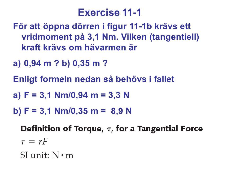 Exercise 11-1 För att öppna dörren i figur 11-1b krävs ett vridmoment på 3,1 Nm. Vilken (tangentiell) kraft krävs om hävarmen är a) 0,94 m ? b) 0,35 m