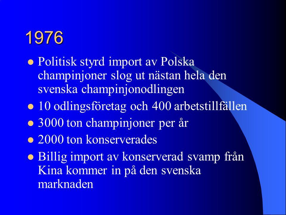 1976 Politisk styrd import av Polska champinjoner slog ut nästan hela den svenska champinjonodlingen 10 odlingsföretag och 400 arbetstillfällen 3000 t
