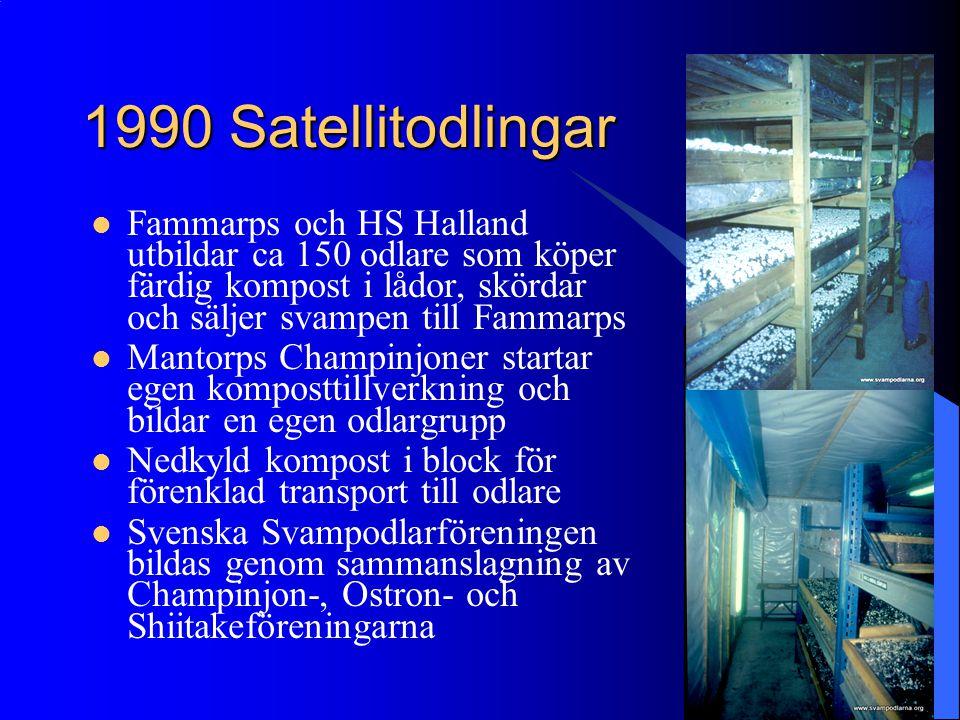 1990 Satellitodlingar Fammarps och HS Halland utbildar ca 150 odlare som köper färdig kompost i lådor, skördar och säljer svampen till Fammarps Mantor