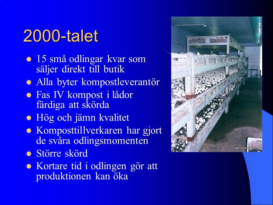 2000-talet 15 små odlingar kvar som säljer direkt till butik Alla byter kompostleverantör Fas IV kompost i lådor färdiga att skörda Hög och jämn kvali
