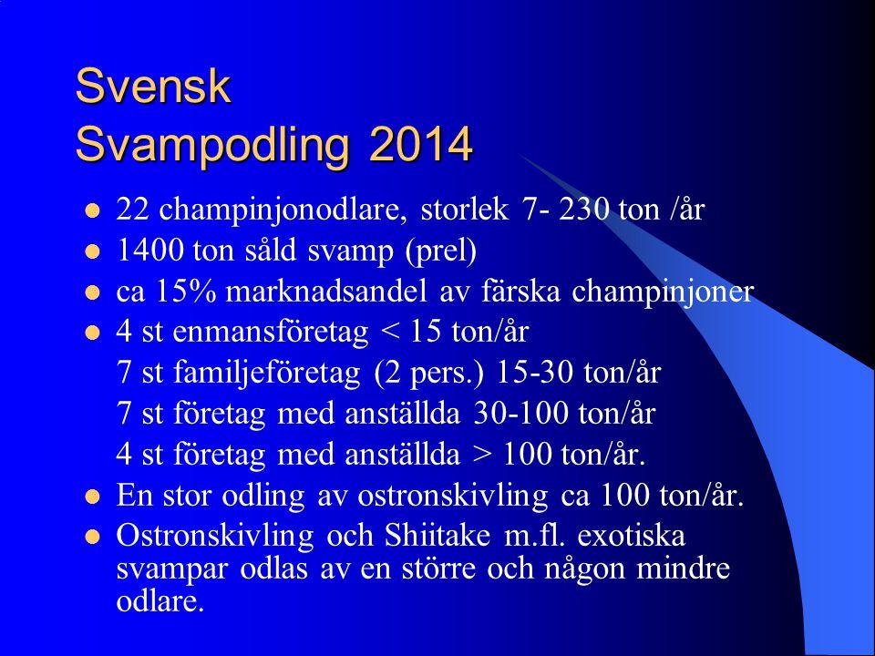 Svensk Svampodling 2014 22 champinjonodlare, storlek 7- 230 ton /år 1400 ton såld svamp (prel) ca 15% marknadsandel av färska champinjoner 4 st enmans