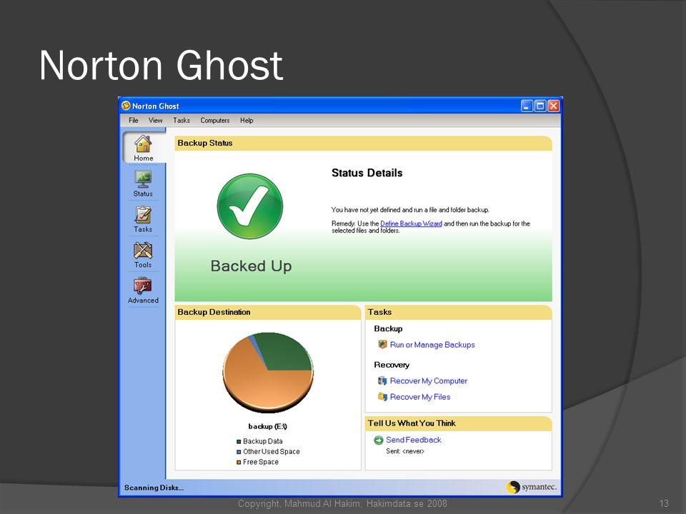 Norton Ghost 13Copyright, Mahmud Al Hakim, Hakimdata.se 2008