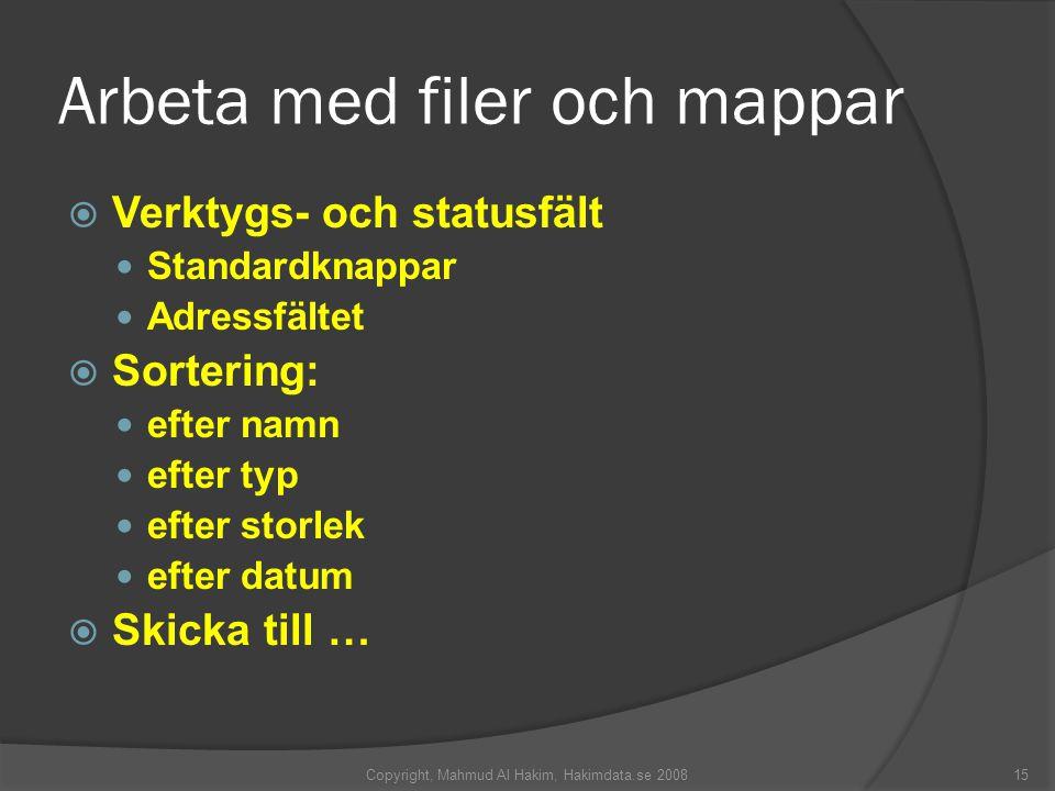 Arbeta med filer och mappar  Verktygs- och statusfält Standardknappar Adressfältet  Sortering: efter namn efter typ efter storlek efter datum  Skicka till … 15Copyright, Mahmud Al Hakim, Hakimdata.se 2008