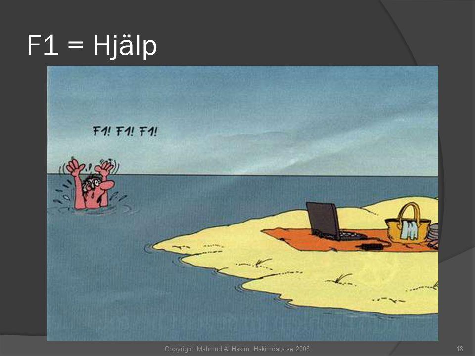 F1 = Hjälp 18Copyright, Mahmud Al Hakim, Hakimdata.se 2008