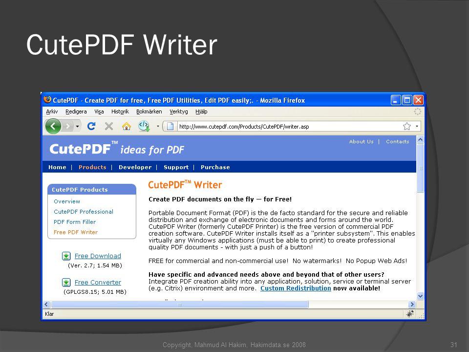 CutePDF Writer 31Copyright, Mahmud Al Hakim, Hakimdata.se 2008