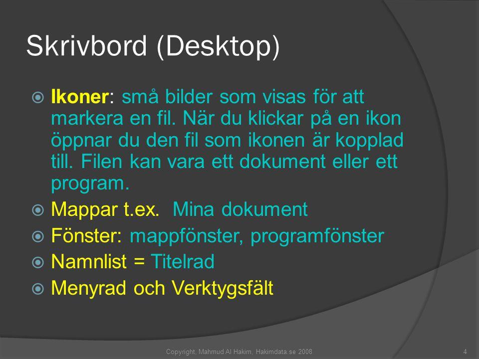 Skrivbord (Desktop)  Ikoner: små bilder som visas för att markera en fil.