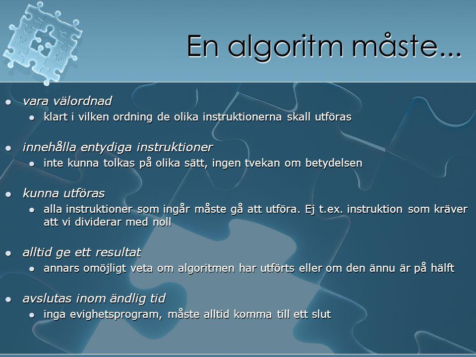 En algoritm måste... vara välordnad klart i vilken ordning de olika instruktionerna skall utföras innehålla entydiga instruktioner inte kunna tolkas p
