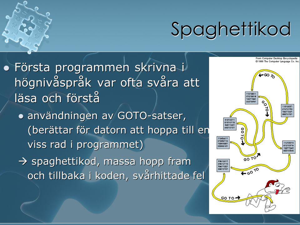 Spaghettikod Första programmen skrivna i högnivåspråk var ofta svåra att läsa och förstå användningen av GOTO-satser, (berättar för datorn att hoppa t