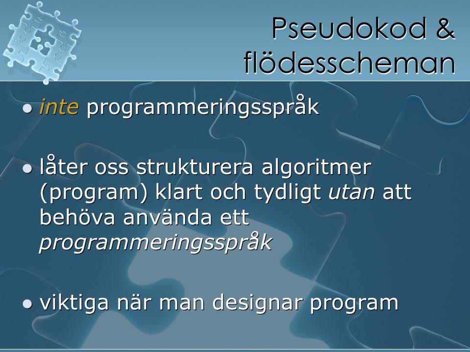 Pseudokod & flödesscheman inte programmeringsspråk låter oss strukturera algoritmer (program) klart och tydligt utan att behöva använda ett programmer