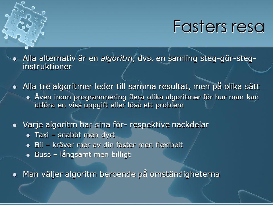 Fasters resa Alla alternativ är en algoritm, dvs. en samling steg-gör-steg- instruktioner Alla tre algoritmer leder till samma resultat, men på olika