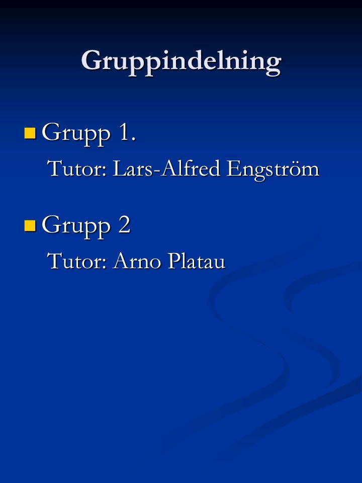 Gruppindelning Grupp 1. Grupp 1. Tutor: Lars-Alfred Engström Grupp 2 Grupp 2 Tutor: Arno Platau