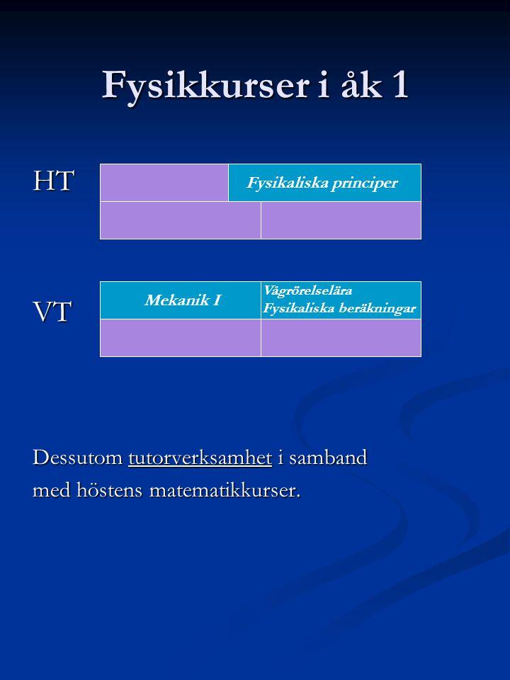 Fysikkurser i åk 1 HTVT Dessutom tutorverksamhet i samband med höstens matematikkurser.