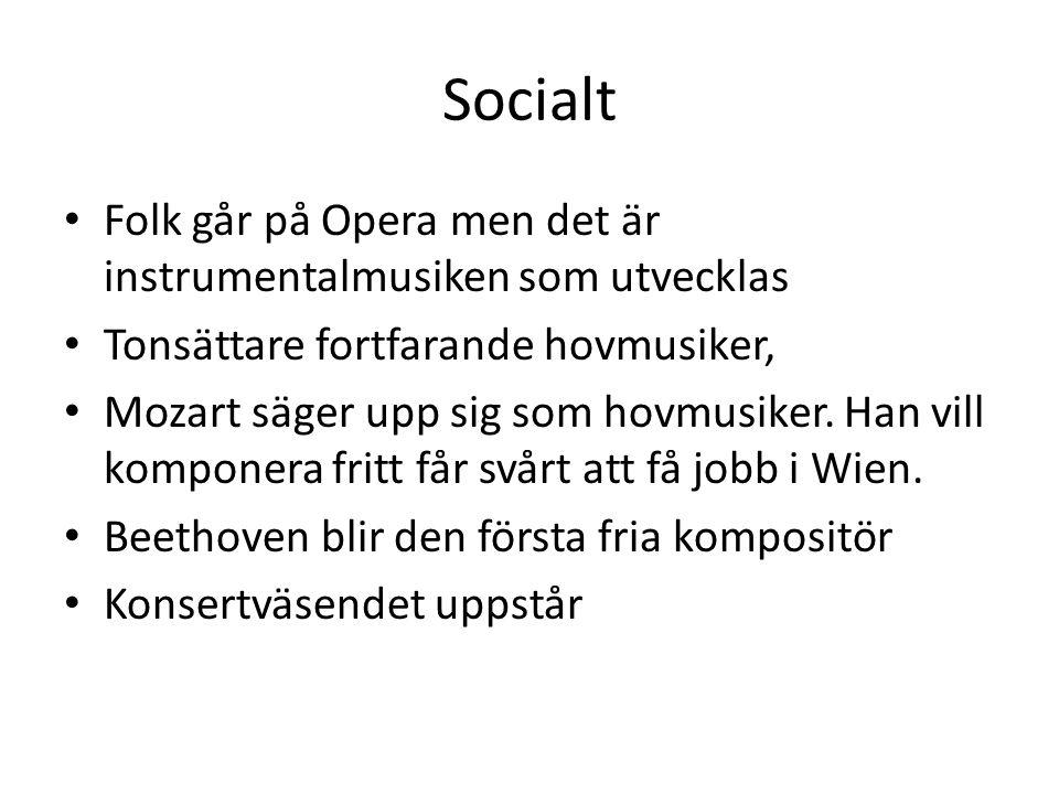Socialt Folk går på Opera men det är instrumentalmusiken som utvecklas Tonsättare fortfarande hovmusiker, Mozart säger upp sig som hovmusiker. Han vil