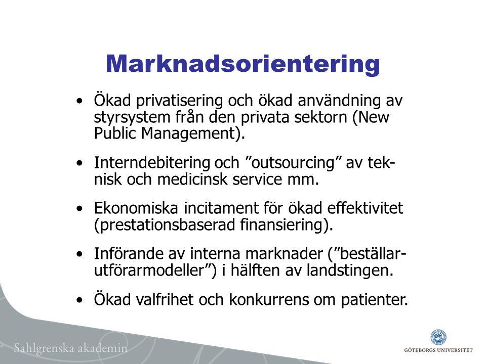 Marknadsorientering Ökad privatisering och ökad användning av styrsystem från den privata sektorn (New Public Management).