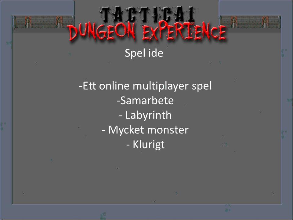 Spel ide -Ett online multiplayer spel -Samarbete - Labyrinth - Mycket monster - Klurigt