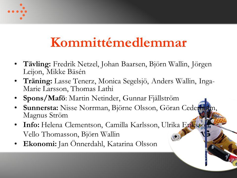 Kommittémedlemmar Tävling: Fredrik Netzel, Johan Baarsen, Björn Wallin, Jörgen Leijon, Mikke Bäsén Träning: Lasse Tenerz, Monica Segelsjö, Anders Wall