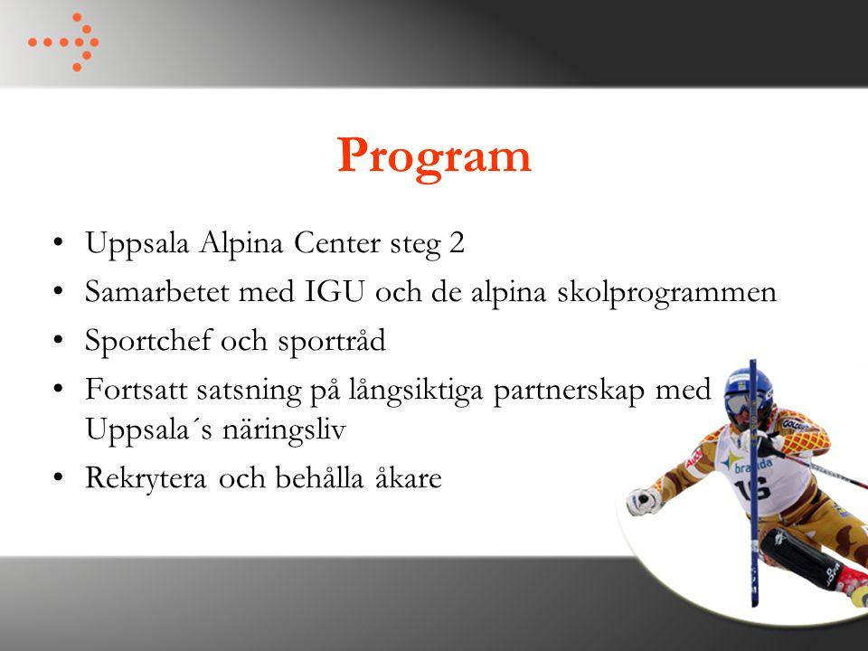 Program Uppsala Alpina Center steg 2 Samarbetet med IGU och de alpina skolprogrammen Sportchef och sportråd Fortsatt satsning på långsiktiga partnerskap med Uppsala´s näringsliv Rekrytera och behålla åkare