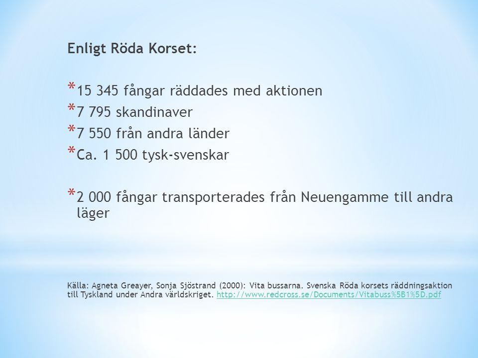 Enligt Röda Korset: * 15 345 fångar räddades med aktionen * 7 795 skandinaver * 7 550 från andra länder * Ca. 1 500 tysk-svenskar * 2 000 fångar trans