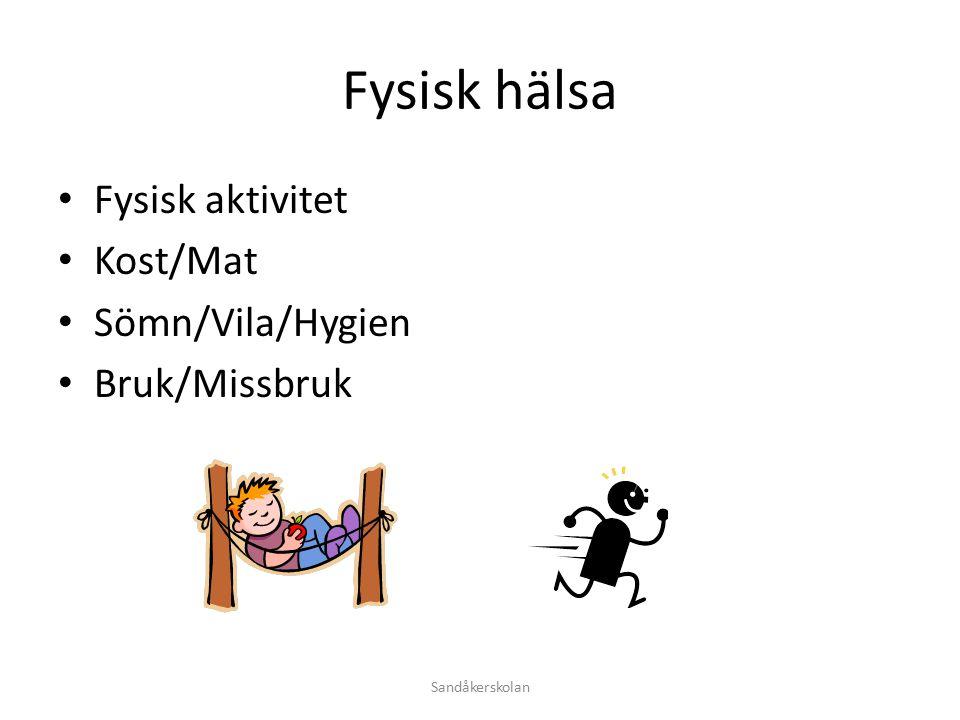 Fysisk hälsa Fysisk aktivitet Kost/Mat Sömn/Vila/Hygien Bruk/Missbruk Sandåkerskolan