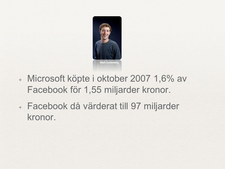 ✦ Microsoft köpte i oktober 2007 1,6% av Facebook för 1,55 miljarder kronor. ✦ Facebook då värderat till 97 miljarder kronor.